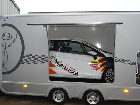 Myerscough college new Ifor Williams Transporta Enclosed Car Trailer setting off for a rally in Ypres, Belgium