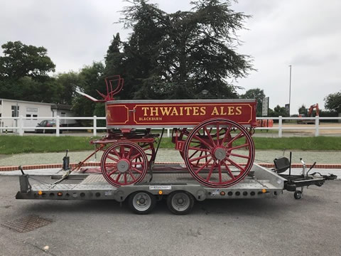 Thwaites Brewery using Ifor Williams CT177 car transporter