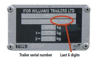 Ifor Williams Trailers Serial Number Plate