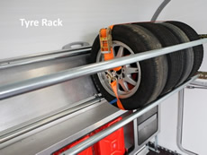 Ifor Williams Transporta Enclosed Car Transporter tyre rack